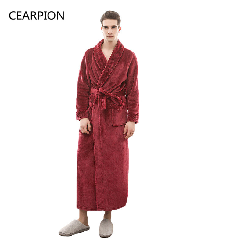 CEARPION Flannel Winter Thick Warm Robe Men Solid Color Night Dressing Male Casual Kimono Bathrobe Gown Long Sleeve Negligee