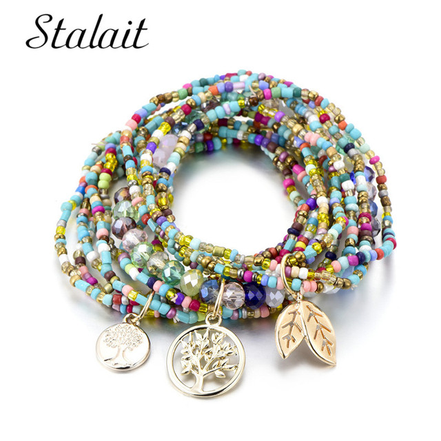 Bohemian Style Life Of Tree Leave Charm Beads Bracelets For Women Boho Multilayer Crystal Seed Bead