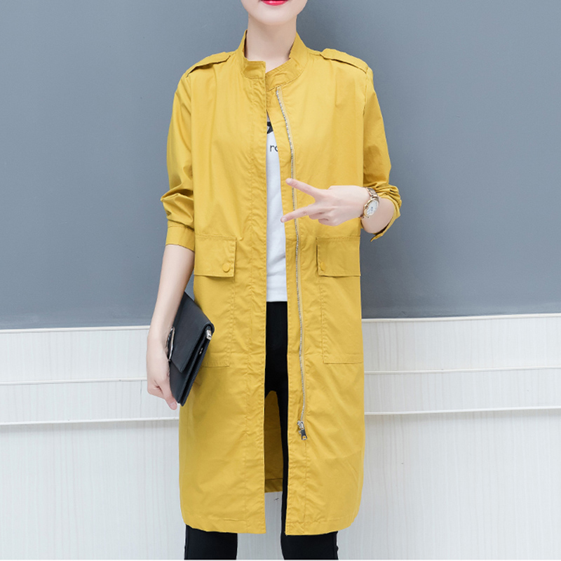 Spring Women's 2019 New Large Size Loose Long Section Solid Color Pocket Zipper Windbreaker Wild Thin Windbreaker Coat Femalel98