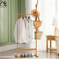 Lanskaya Modern Bamboo Floor Clothes Tree Bag Hat Racks Coat Hanger Furniture Bedroom Wooden Coat Rack