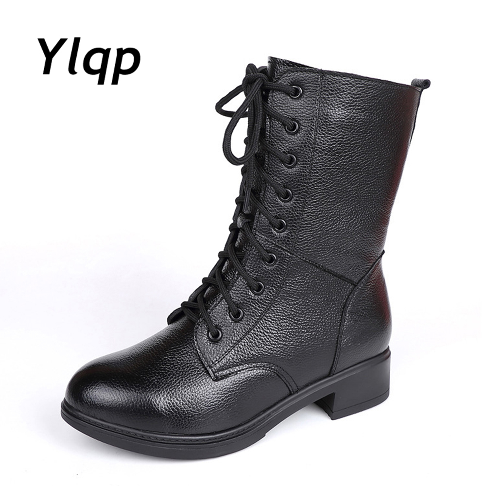 YLQP 2018 New Martin Boots Genuine Leather mid calf Boots Women Shoes Round Toe Motorcycle Boots Lace Combat Shoes Solid Black hot sale women shoes lace up round toe mid calf boots for women fashion print floral embellished denim shoes retro femme boots