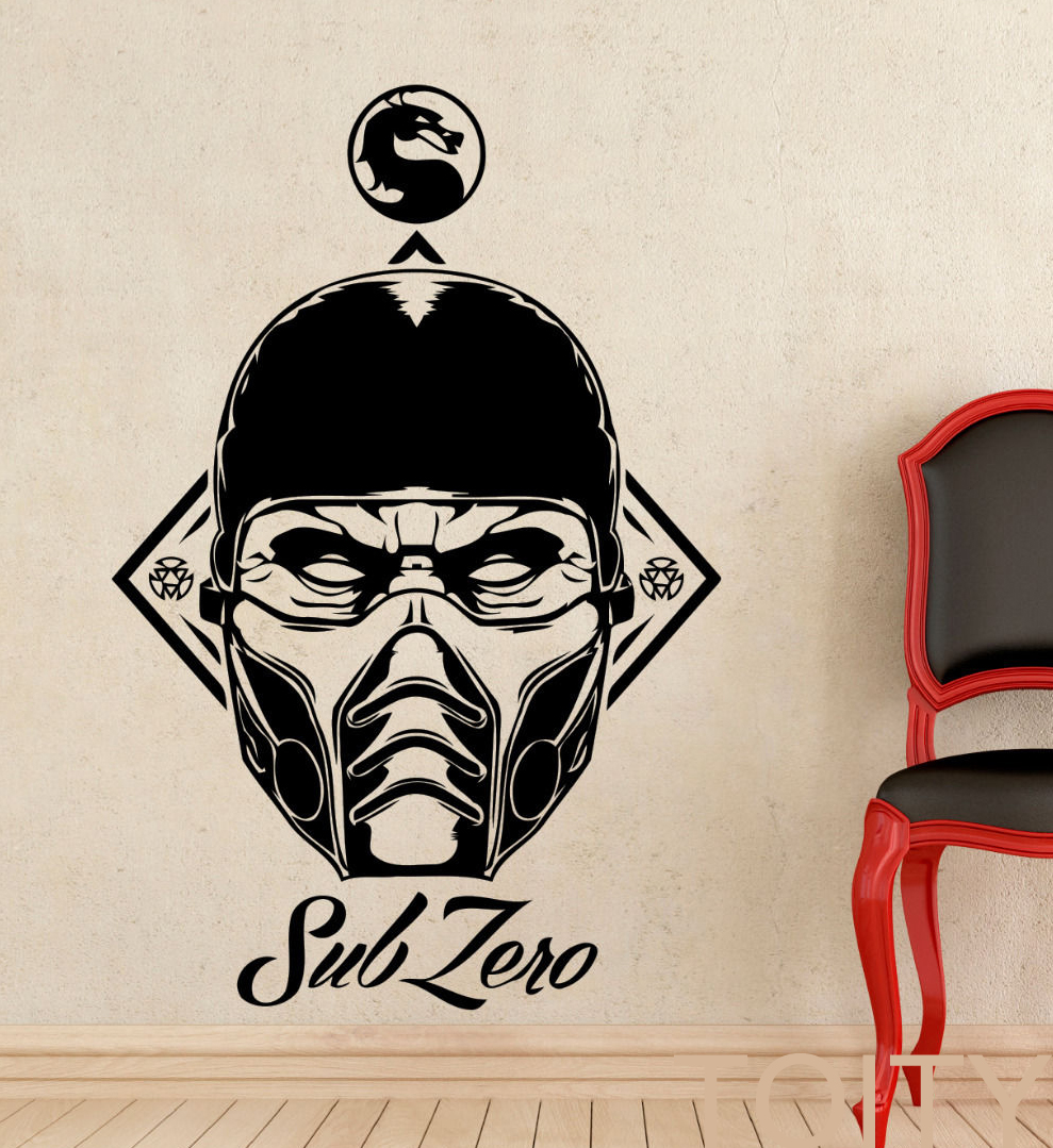 sub zero vinyl sticker decal mortal kombat game wall art home interior design bedroom dorm decor