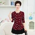 Plus size 4XL primavera loose women chiffon blusa 2017 NOVA casual Ruffles manga longa impressão camisas das senhoras do sexo feminino preto tops