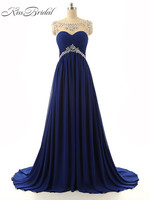 New Evening Dresses Scoop Neck Sleeveless Sweep Train Lace Up Back Beaded Prom Party Gowns Special