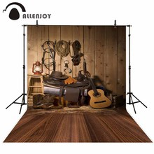 Allenjoy Photography Backdrops Cowboy Guitar Wood Indoor Storage Room Tools  Floor Vintage Photographic Child Photography