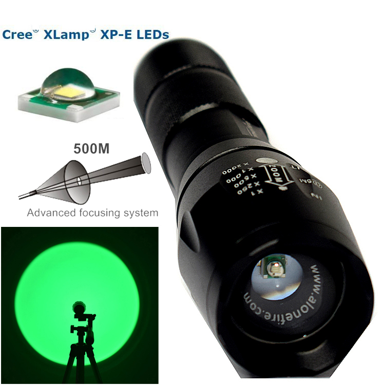 Led Flashlights Systematic E17 Adjustable Zoomable Scalable 300yards Long Range Cree Xp-e Led Green Light Flashlight Green Hunting Light Tactical Flashligh Activating Blood Circulation And Strengthening Sinews And Bones Led Lighting