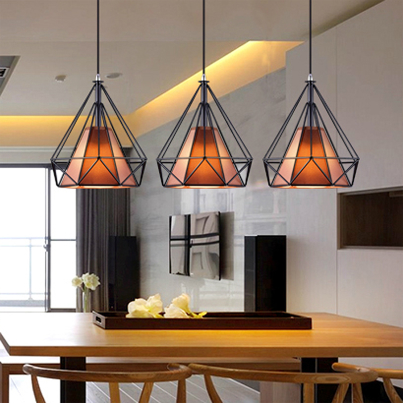 Modern Black White Birdcage Pendant Lights Wrought Iron Scandinavian Loft Pyramid Pendant Lamp metal cage Kitchen Hanging Lamp
