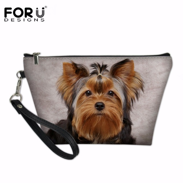 49d9e244d986 US $7.49 25% OFF|FORUDESIGNS Lovely Yorkshire Terrier 3D Printing Makeup  Bags Cute Cosmetics Pouchs For Travel Ladies Pouch Women Cosmetic Bag-in ...