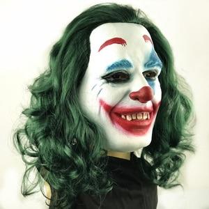 Image 5 - Movie Joker 2019 Cosplay Mask Batman The Dark Knight Clown Mask with Hair Wig Halloween Latex Mask