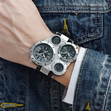 Oulm Watch Top Brand Men Watches Compass Decoration Two Time Zone Clock Leather Men Casual Watches relogio masculino