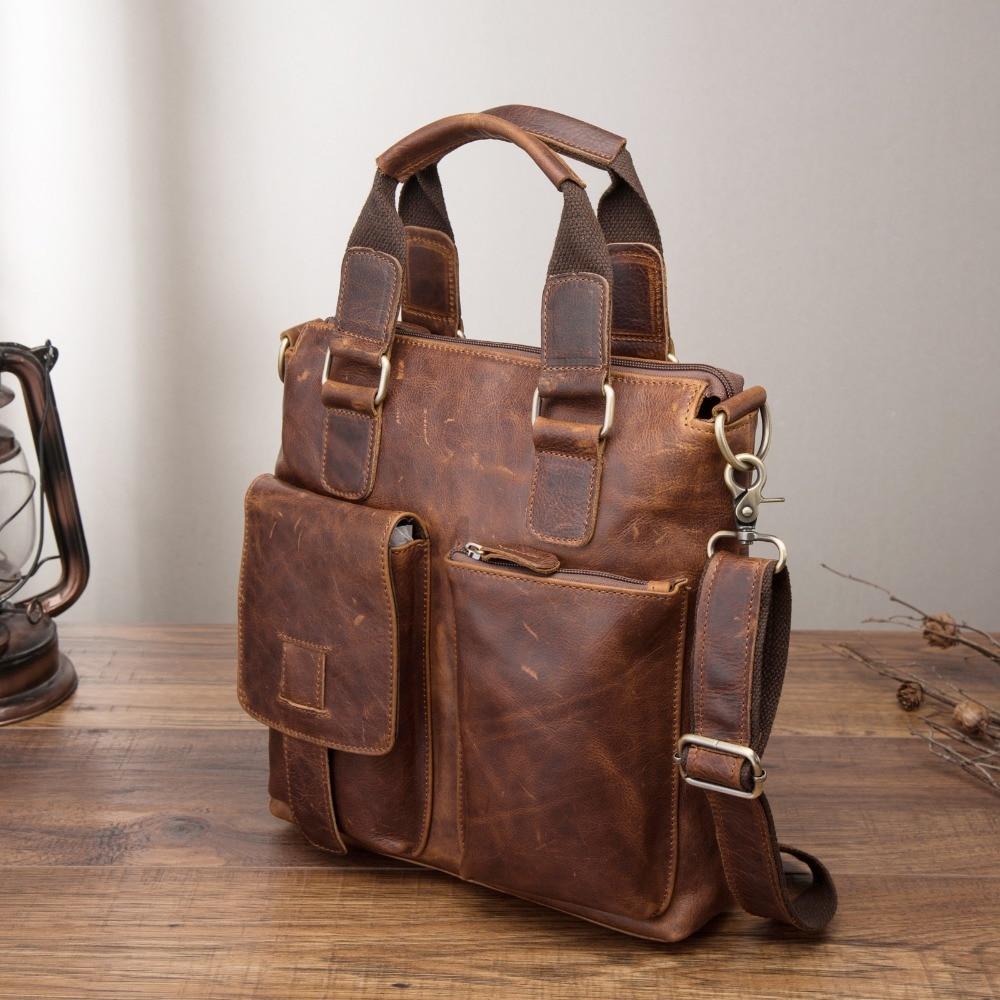 Men Quality Leather Antique Retro Business Briefcase 12 Laptop Case Attache Portfolio Bag Tote Shoulder Messenger