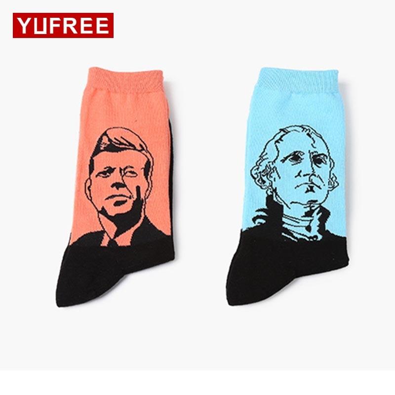 Yufree Men Socks Fashion Pure Cotton Figure Avatar Tube Socks Men Casual Cartoon Socks Men'S Funny Happy Socks Hot Sale