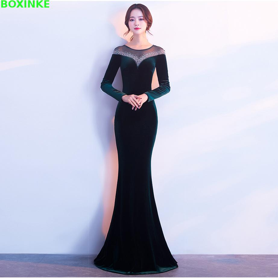 2019 Vestido Longo Hot Sale Full Mesh Dress New Velvet Party Autumn Long Sleeve Company Annual Meeting Host Fish Tail S-3xl