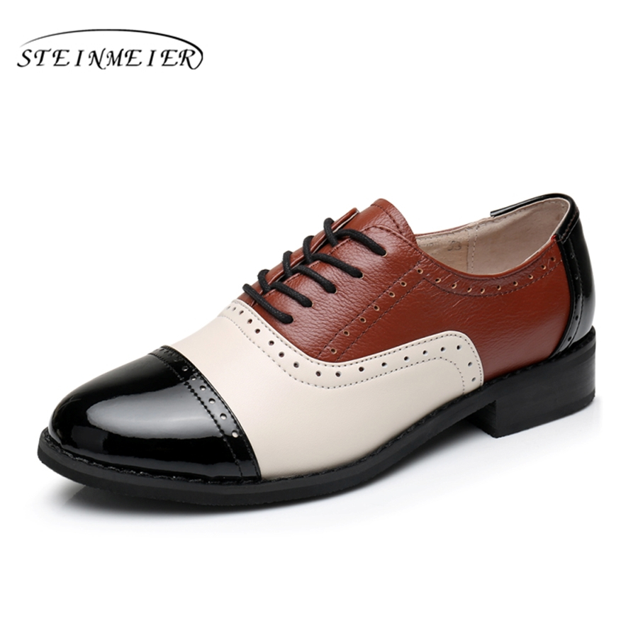 Cow leather big woman US size 11 designer vintage flat shoes round toe handmade brown black