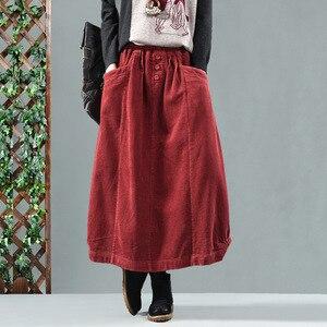 Image 3 - אביב סתיו חצאית רטרו נשים אלסטי מותניים חצאית רופף כיס כפתור מוצק צבע מוצק צבע מזדמן גבירותיי ניצן חצאית 2019
