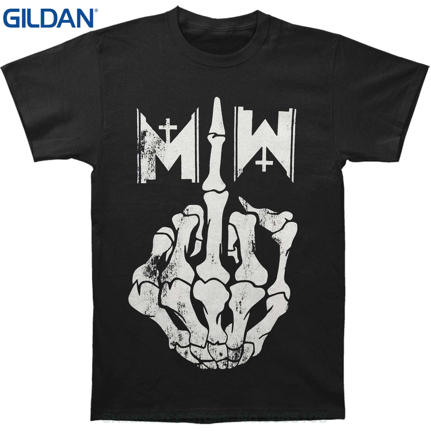 GILDAN Print T Shirt O-neck Short Motionless In White Mens Middle Finger T-shirt Black