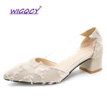 Flock pumps women shoes 2019 Spring Autumn shoes women Fashion Pointed Toe Square heel Party shoes Slip-On Hollow female shoes new arrival square heel sexy shoes women fashion flock shoes pointed toe casual slip on height shoes for woman spring shoes