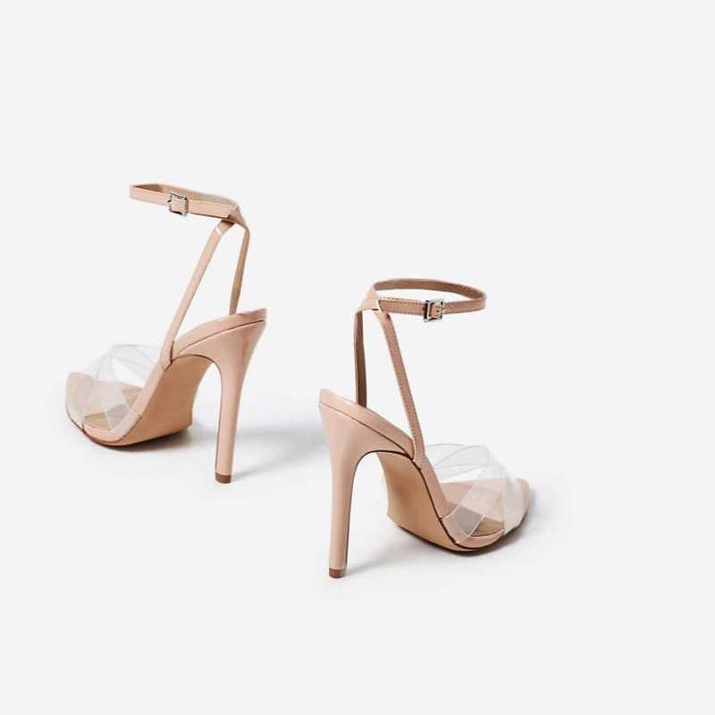 abcf67e23 ... Summer Clear Sandals Women Transparent High Heels PVC Cross Stilettos  Ankle Strap Perspex Heeled Western Design ...