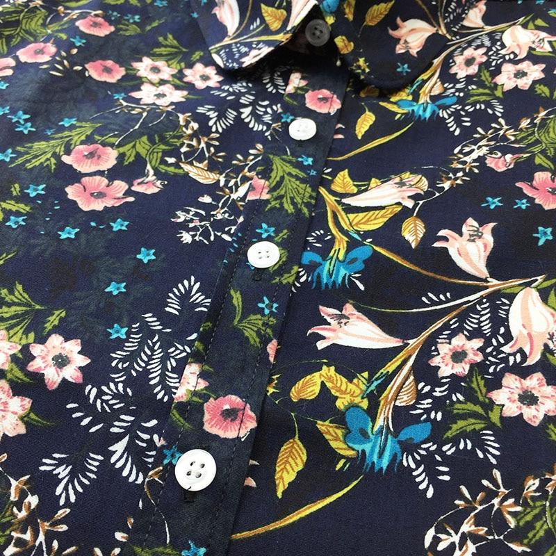Dioufond Bohemia Kadınlar Bluzlar Uzun Kollu Gömlek Kadın Yaz Turn - Bayan Giyimi - Fotoğraf 5