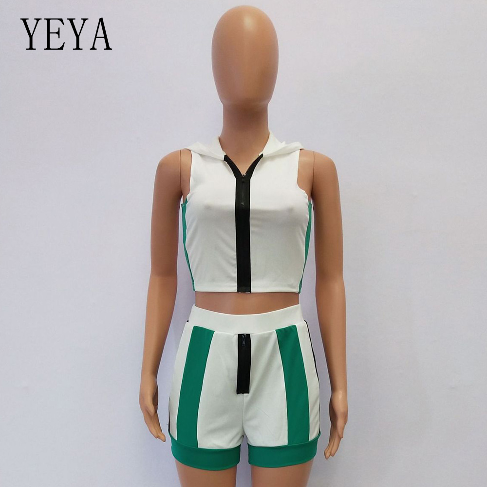YEYA 2 Piece Set Women Playsuit Sleeveless Zipper Hooded Bodycon Jumpsuit Short Romper Patchwork Casual Playsuit Summer Overalls in Rompers from Women 39 s Clothing