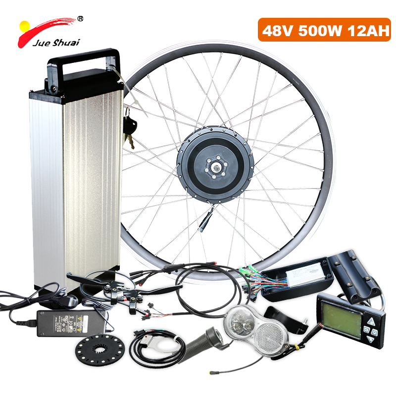 Electric Bike Conversion Kit 26Inch 700C Brushless Hub Mmotor Wheel 48V 500W 12AH LCD Display Rear Rack Battery E Bicycle Kit