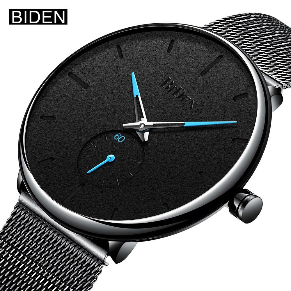 BIDEN Top Brand New Fashion Quartz Watches Men Casual Stainless Steel Mesh Strap Ultra Tin Wrist