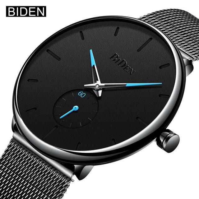 a9230451bd8 BIDEN Top Brand New Fashion Quartz Watches Men Casual Stainless Steel Mesh  Strap Ultra Tin Wrist
