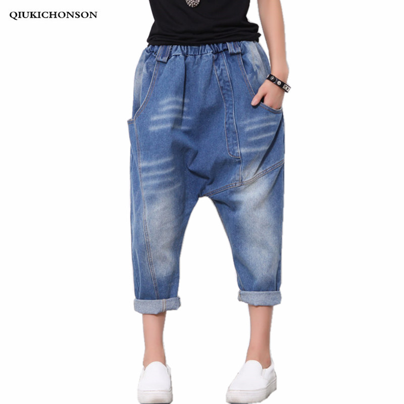 Mid-Waist Harem Pants Loose Denim Women Jeans 2019 New European And American Ankle-Length Pants