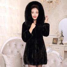 New Fashion Genuine Mink Fur Coat Black Luxury Fur Top Natural Mink Fur From China Mink Sleeve Women Female Noble Coat For Women