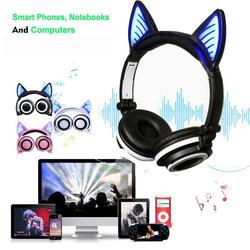 Милые кошачьи ушки беспроводные Bluetooth наушники светодиодный мигающий светящийся цветные наушники Регулируемая гарнитура для взрослых и