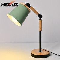 Nordic wooden iron table lamp aluminum eye protect macaron adjustable desk lamp study bedroom office reading lighting