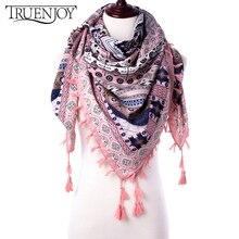 TRUENJOY, треугольный шарф с кисточками для женщин, зимний, теплый, модный, с принтом, шаль, шарфы, шарф для женщин, для девушек, 110*110*180 см