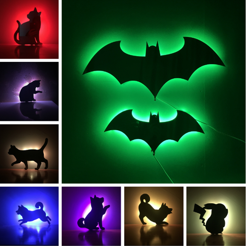 Novelty Animal Wall Night Light Multicolor Change Matte Face Remote or Lighting Motion Sensor Shadow Projection Bat DecorationNovelty Animal Wall Night Light Multicolor Change Matte Face Remote or Lighting Motion Sensor Shadow Projection Bat Decoration