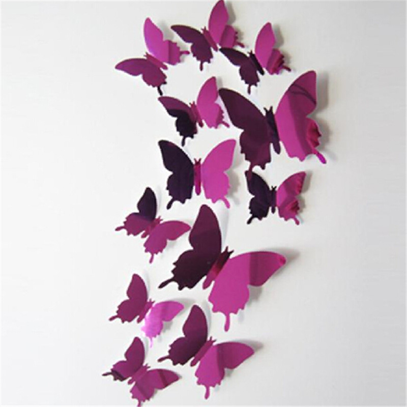 Hot sale Reflecting Butterfly Wall Stickers Decal Butterflies 3D Mirror Wall Art Home De ...