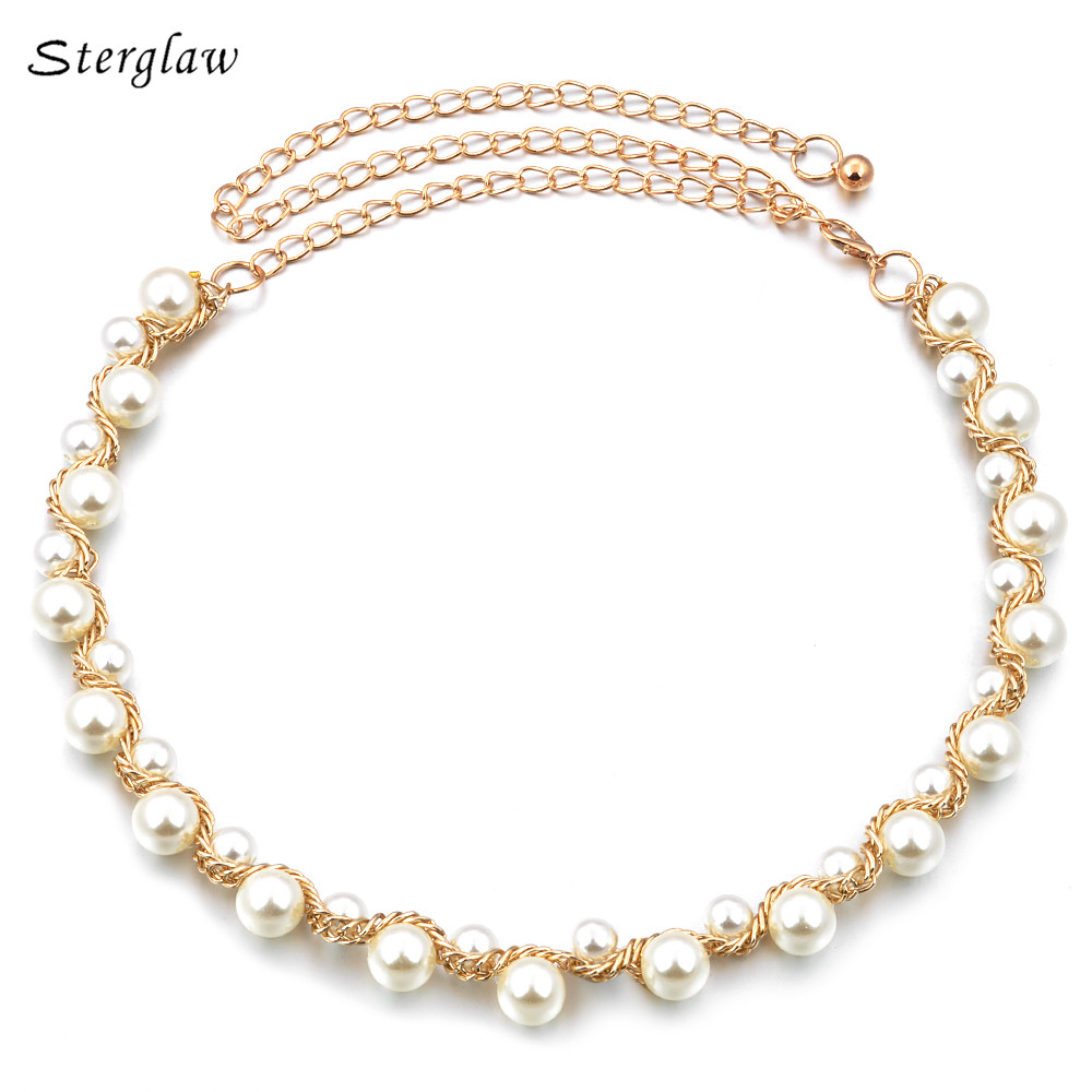 Hot Metal Beaded Pearl Necklace Waist Chain Belt Women Dress 2020 High Quality Casual Gold Braided Belt Female Bracelet F012