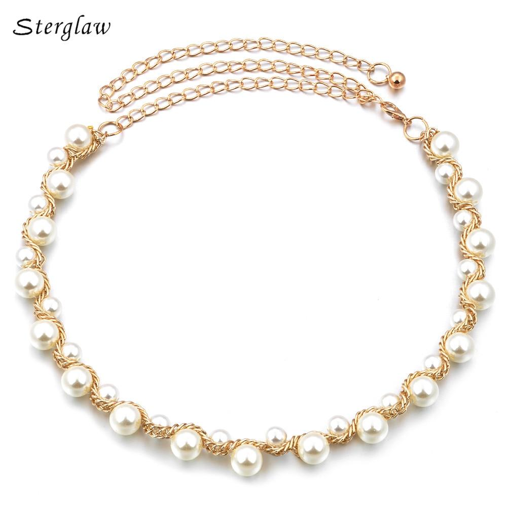 Hot Metal Beaded Pearl Necklace Waist Chain Belt Women Dress 2020 High Quality Casual Gold Braided Belt Female Bracelet F012