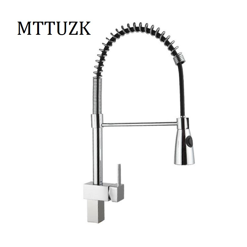MTTUZK Square Chrome Finished Kitchen Sink Faucet Deck Mount Pull Out Nozzle  Hot Cold Mixer Water Part 73