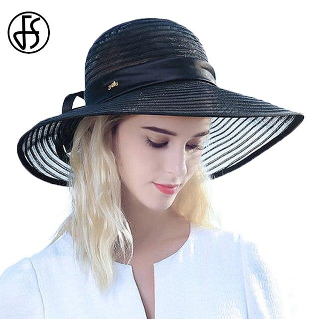 FS nuevo verano playa sombreros de las mujeres Negro Azul blanco sombreros  de sol mujer ala 76a2f71bfb06