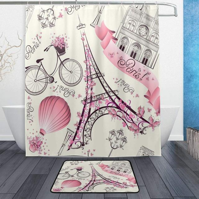 Pink Floral Paris Eiffels Tower White Shower Curtain Rug Set Waterproof Polyester Bath Mat
