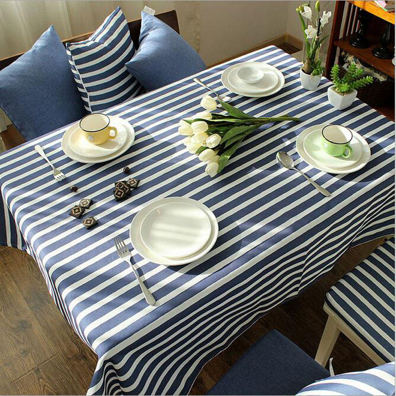Modern Minimalist Cotton Linen Striped Tablecloths 140*220 American Navy  Wind Stitching Coffee Table Table Cloths Oil Cloth Deco In Tablecloths From  Home ...