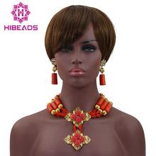 Darmowa dostawa! Modne korale afrykańskie zestaw biżuterii ślubnej eleganckie koralowe zestawy biżuterii ślubnej HX550 tanie tanio Moda PLANT Necklace Bracelet Earrings CORAL Naszyjnik kolczyki bransoletka TRENDY Ślub Kobiety miss mousaie Pozłacane