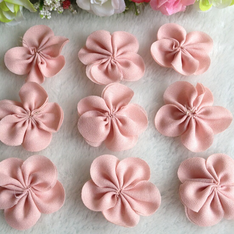 HL 20pcs 40mm Chiffon Ribbon Flowers Double Handmade Flowers Apparel Accessories Sewing Appliques DIY Crafts A643