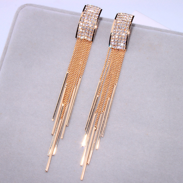 2019 New Gold Color Long Crystal Tassel Dangle Earrings for Women Wedding Drop Earing Brinco Fashion.jpg 640x640 - 2019 New Gold Color Long Crystal Tassel Dangle Earrings for Women Wedding Drop Earing Brinco Fashion Jewelry Gifts E1717