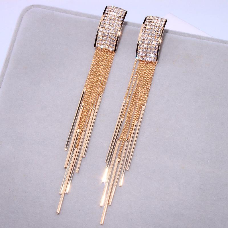 Uus kuldne värv pikk kristalli varrukatega kõrvarõngad naiste - Mood ehteid - Foto 6