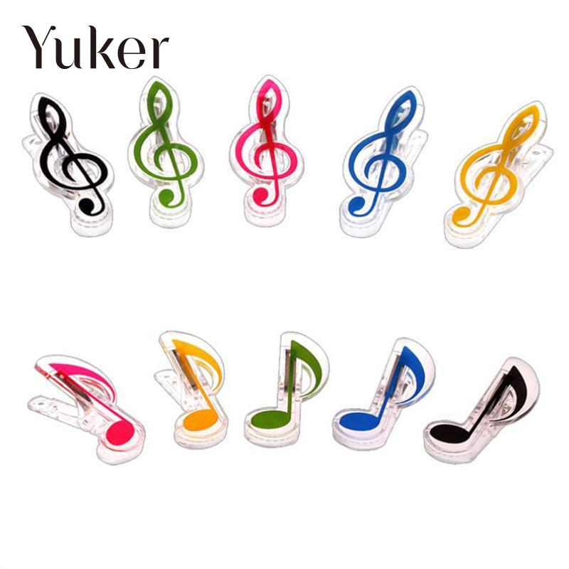 Yuker 1 Pcs Plastic Music Book Page Clip Book Note Clip Treble Clef Clip Bookmarks Piano Clamps 140 page note paper creative fruit design