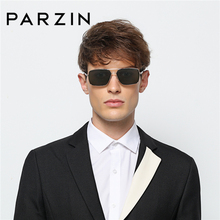 PARZIN Brand Classic Men Polarized Sunglasses For Driving Real Polarizing Lens Big Square Alloy Frame Eye Glasses With Box 8100