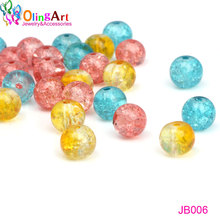 OlingArt Glass Round Bead 6MM/8MM Pink+blue+yellow mixed Crack Crystal spacers DIY Bracelet necklace jewelry making 2017 NEW fast shipping stunning 8rows 6mm round crude pink coral necklace g165