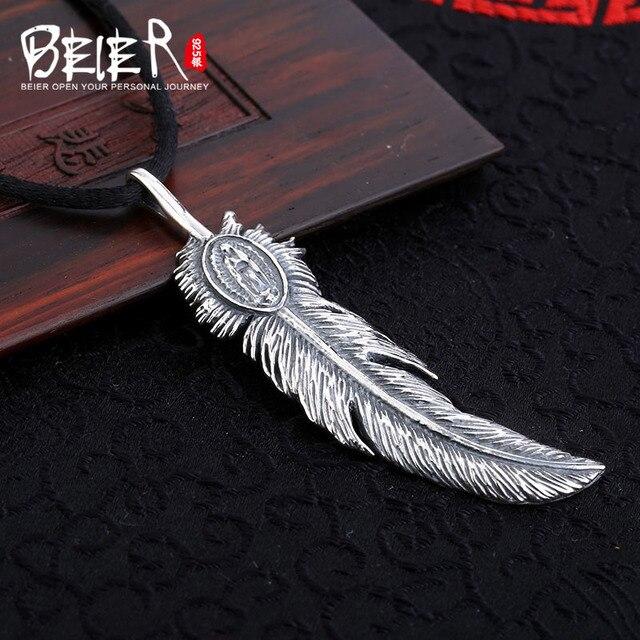 Beier cửa hàng mới 100% 925 thái bạc sterling silver feather pendant necklace trang sức thời trang nam/phụ nữ miễn phí cung cấp cho dây A2033