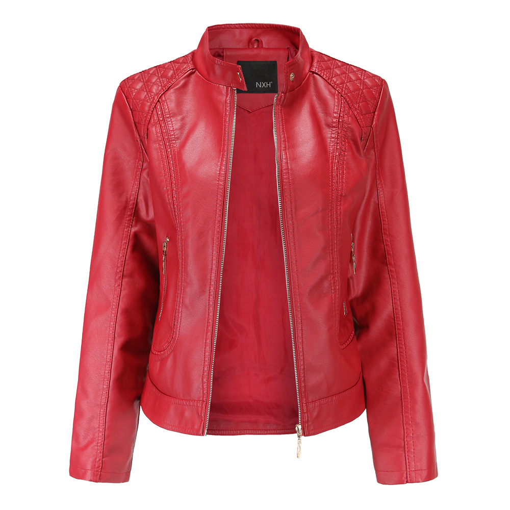 NXH 2018 Real photo New Winter autumn Good Quality Womens PU   Leather   jacket Ladies Slim Short Faux Soft Bomber jackets and coats