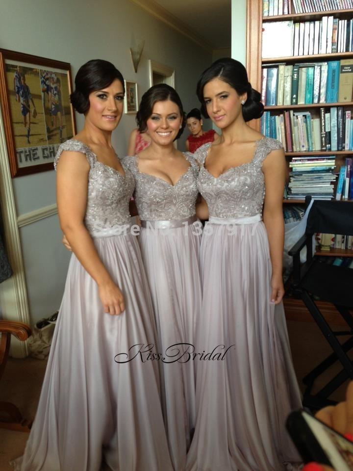 Vestido de festa long New 2017   Bridesmaid     Dresses   Sweetheart Neck Cap Sleeve Floor Length A-Line Beading Chiffon Party   Dresses